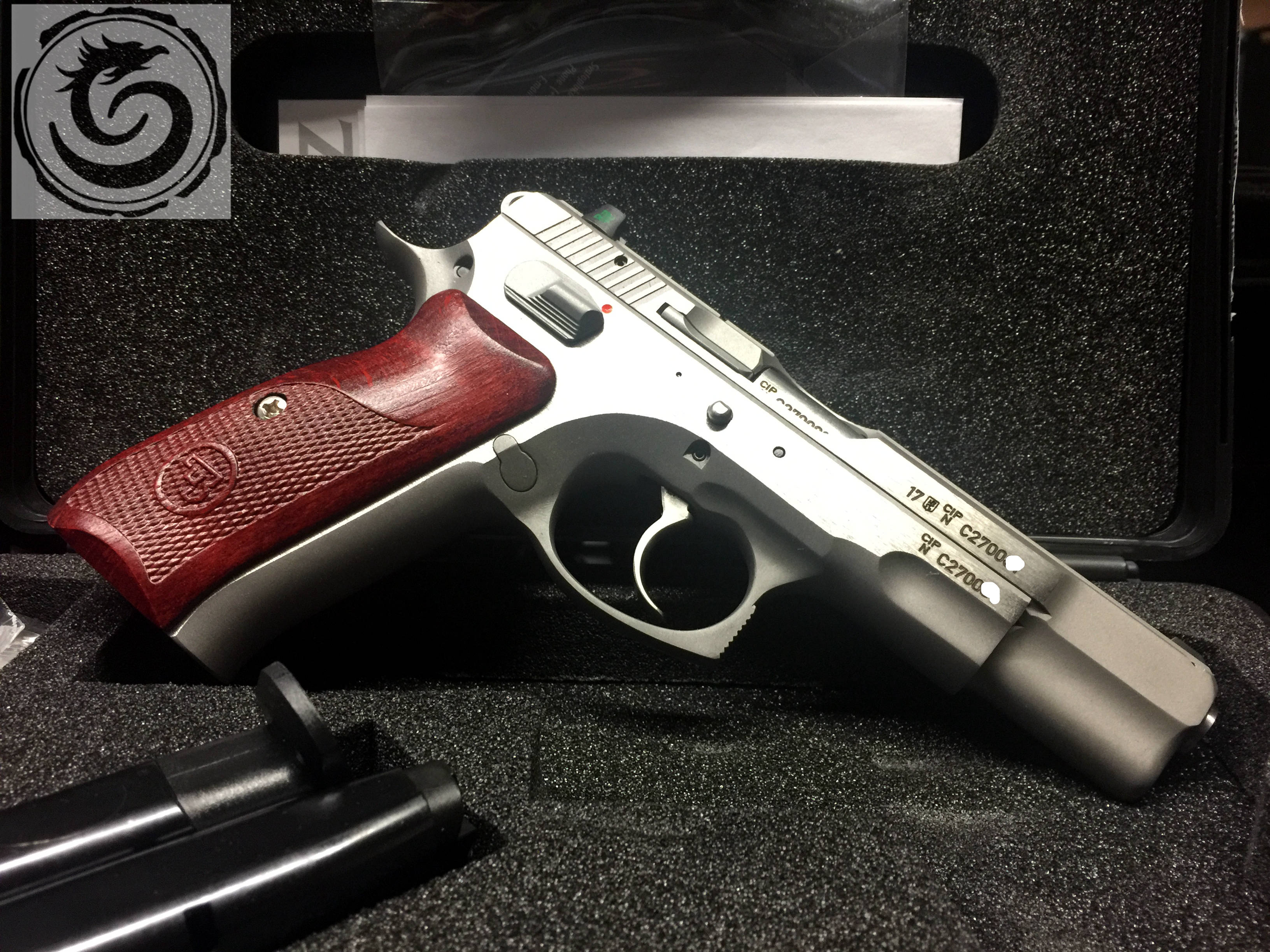 CZ 75B New Edition 9mm Stainless Tritium Sights Walnut Grips